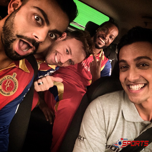 selfie by Virat with RCB team mates and best of friends AB and Gayle