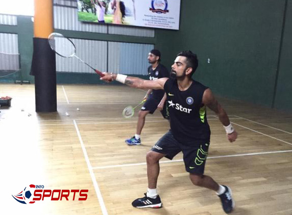 India captain Virat Kohli and Harbhajan Singh team up for a game of badminton