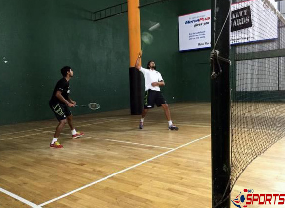 Ishant Sharma and Bhuvneshwar Kumar in action during a game of badminton