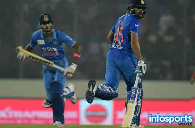 Indian cricketer Rohit Sharma (R) and teammate Hardik Pandya (L) run between the wickets during a Twenty20 cricket match between India and Bangladesh for the Asia Cup T20 cricket tournament at The Sher-e-Bangla National Cricket Stadium in Dhaka on February 24, 2016
