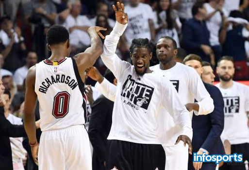 Miami Heat guard Briante Weber celebrates with guard Josh Richardson