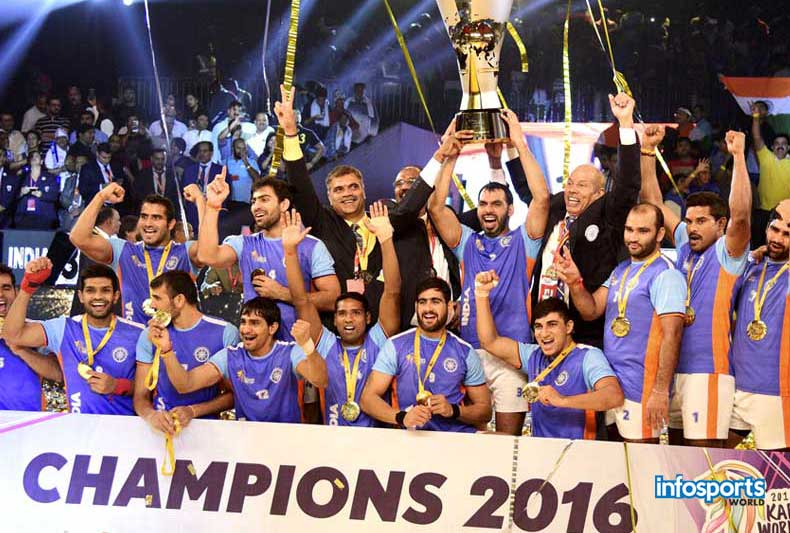 Kabaddi World Cup 2016 : India beat Iran and Won the Cup as 3rd time