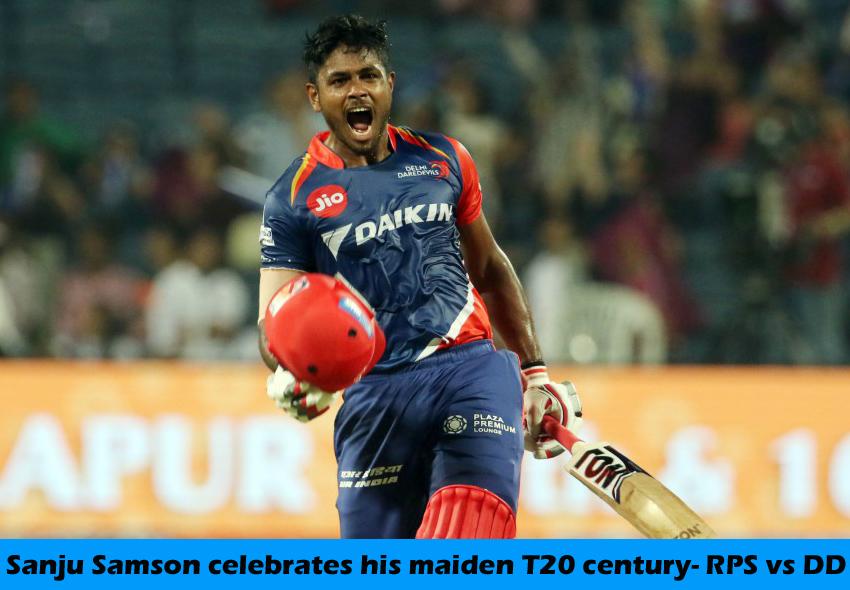 Sanju Samson celebrates his maiden T20 century, Rising Pune Supergiant v Delhi Daredevils, IPL 2017
