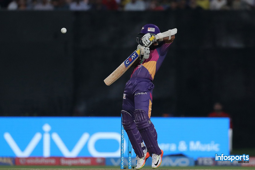 Ajinkya Rahane of Rising Pune Supergiant edges one to the keeper during match 41 of the Vivo 2017 Indian Premier League between the Kolkata Knight Riders and the Rising Pune Supergiant held at the Eden Gardens Stadium in Kolkata, India on the 3rd May 2017 Photo by Ron Gaunt - Sportzpics - IPL