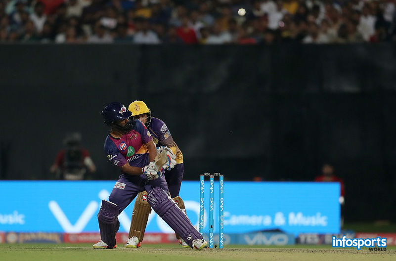 Rahul Ajay Tripathi of Rising Pune Supergiant during match 41 of the Vivo 2017 Indian Premier League between the Kolkata Knight Riders and the Rising Pune Supergiant held at the Eden Gardens Stadium in Kolkata, India on the 3rd May 2017 Photo by Ron Gaunt - Sportzpics - IPL