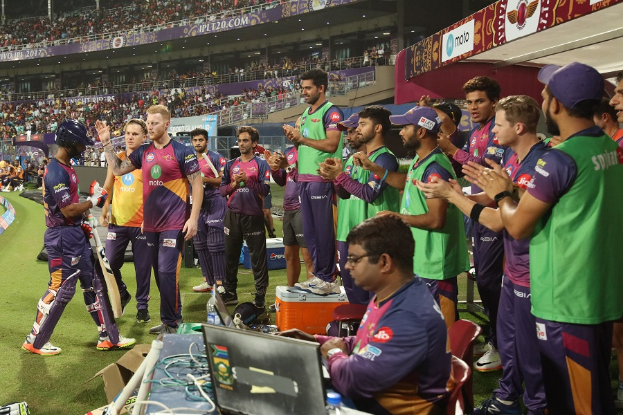 RPS dugout clapping Tripathi after his mervalous innings during match 41 of the Vivo 2017 Indian Premier League between the Kolkata Knight Riders and the Rising Pune Supergiant held at the Eden Gardens Stadium in Kolkata, India on the 3rd May 2017 Photo by Saikat Das - Sportzpics - IPL