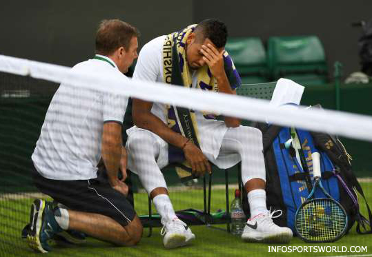 Wimbledon Tennis 2017 - Nick Kyrgios injured and he retires