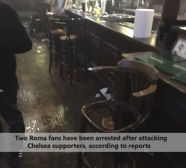 Two Roma fans have been arrested after attacking Chelsea supporters