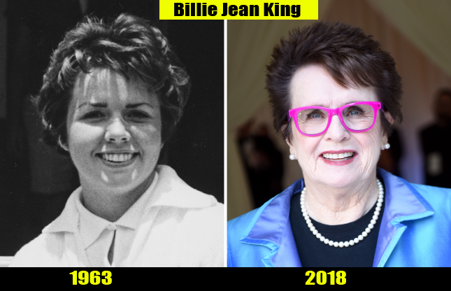 Billie Jean King (1963, 2018) Then and now Transformation | Before and After