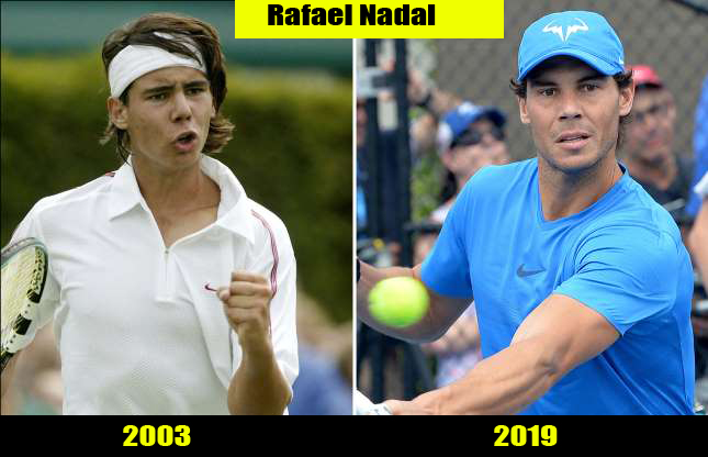 Rafael Nadal (2003, 2019) Then and now Transformation | Before and After