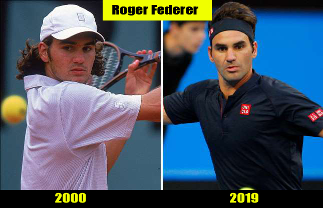 Roger Federer (2000, 2019) Then and now Transformation | Before and After