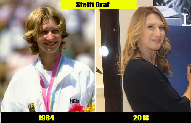 Steffi Graf (1984, 2018) Then and now Transformation | Before and After
