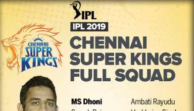 Chennai Super Kings IPL 2019 Team Squad