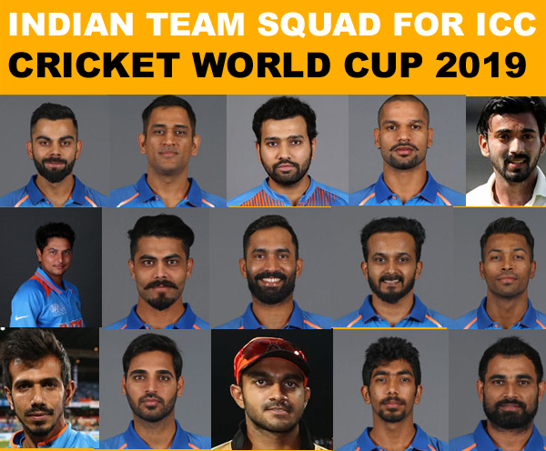 Cricket World Cup 2019 Indian Team Players Full Squad