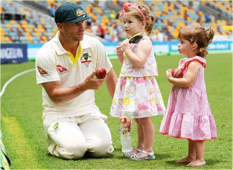 David Warner - Australia Cricketer with Daughters Indi Rae and Ivy Mae