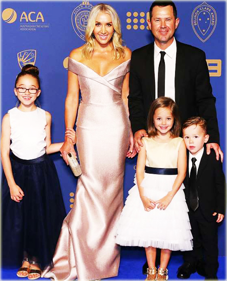 Australia Crickter Ricky Ponting with wife Rianna and daughters Emmy and Matisse and son Fletcher