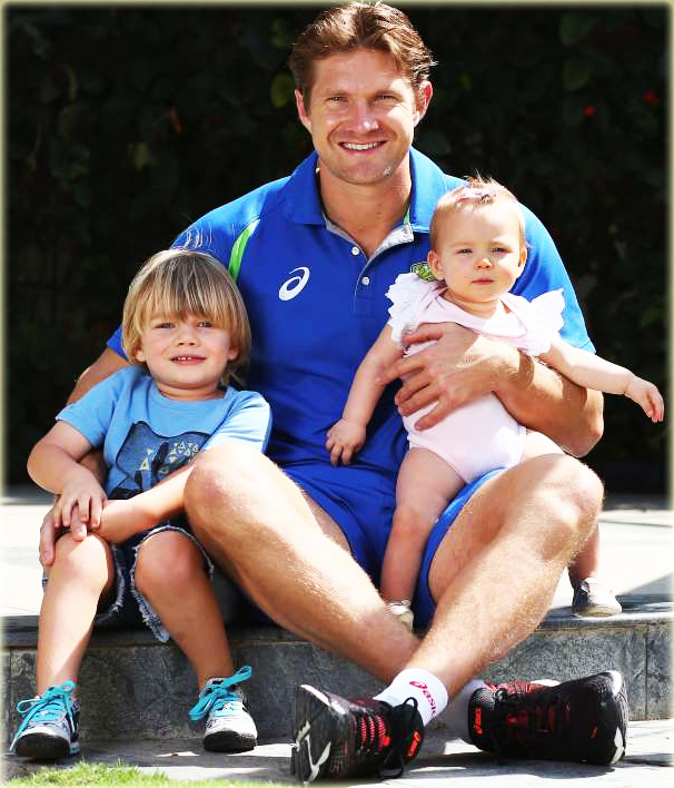 Shane watson - Australia Cricketer With Son Will and Daughter Matillda