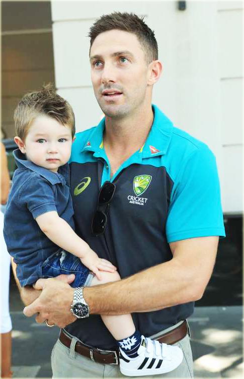 Shaun Marsh - Australia Cricketer With Son Austin
