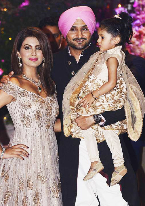 Harbhajan Singh - Indian Cricketer With Wife Geeta Basra abd Daughter Hinaya