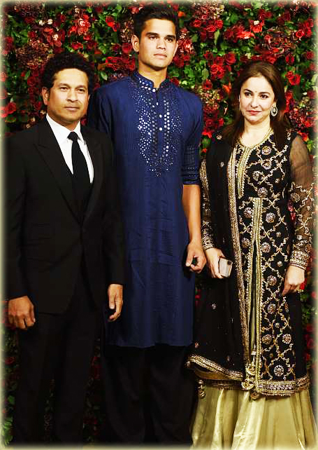 Sachin Tendulkar - Indian Cricketer With Wife Anjali and Son Arjun