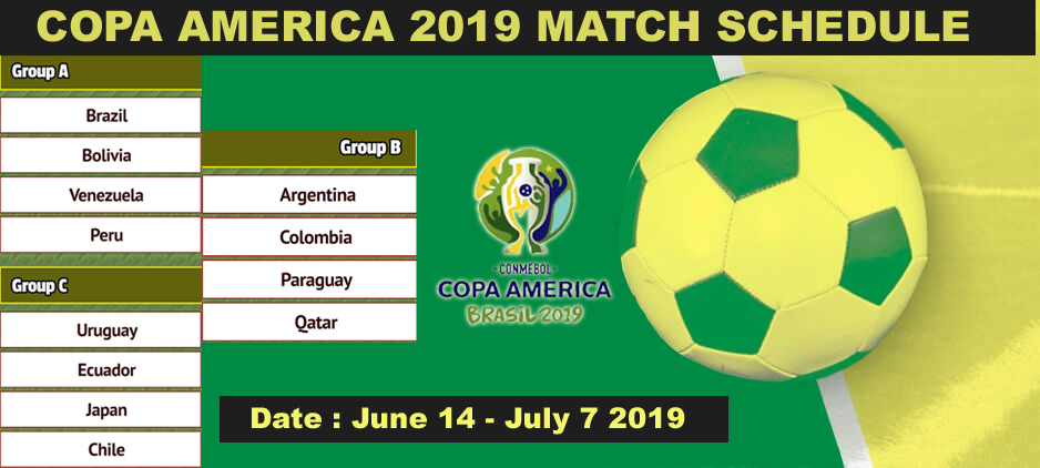 Copa America 2019 Match Schedule From June 14 – July 7