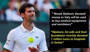 Novak Djokovic Donated Money to Italians Fight Against Covid-19 Crisis
