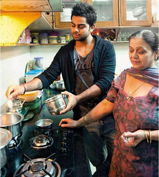 Virat Kohli With Mother Mrs.Saroj Kohli in Kitchen Photos