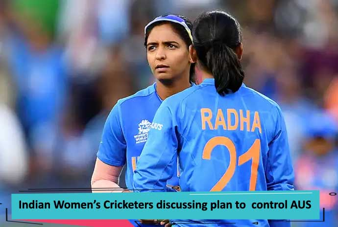 Indian-Women-Cricketers-discussing-plan-to-control-AUS