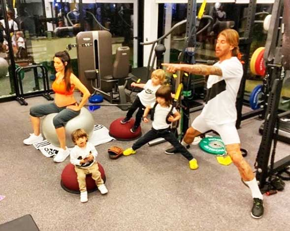 Spanish-Footballer-Sergio-Ramos-works-out-at-home-with-his-wife-and-kids