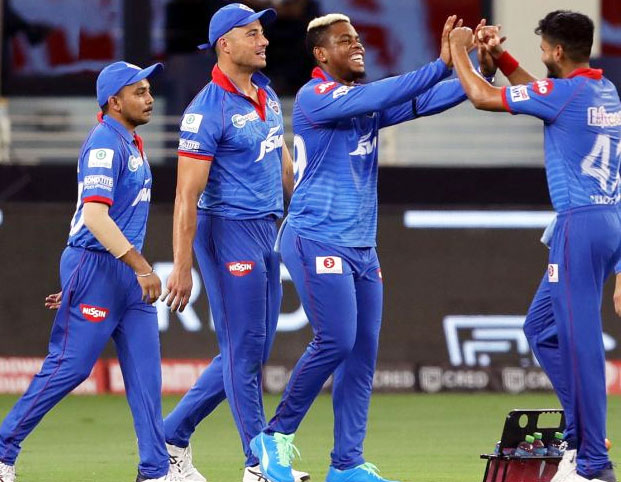 Delhi-Capitals-players-celebrate-the-wicket-of-CSK-opener-Shane-Watson