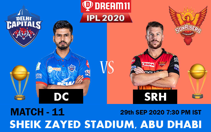 IPL 2020 : DC vs SRH Match Preview, Predictions, Pitch Report and Live Streaming