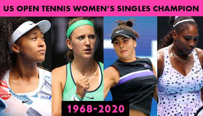 US Open Tennis Women's Singles Champions Winner/Runner-up List 1968-2020