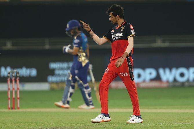 Yuzvendra Chahal celebrates the wicket of Quinton de Kock