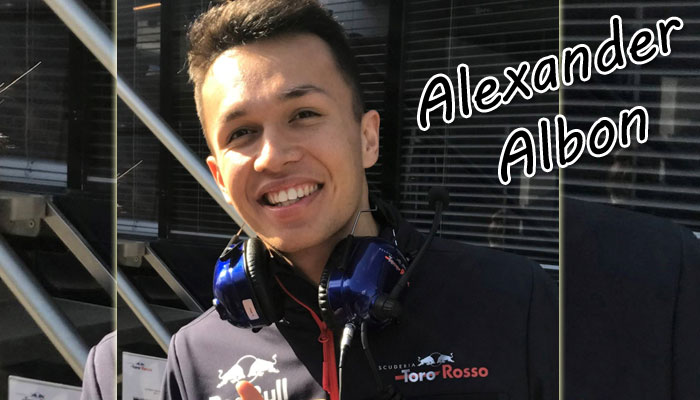 F1 Red Bull car racer Alexander Albon