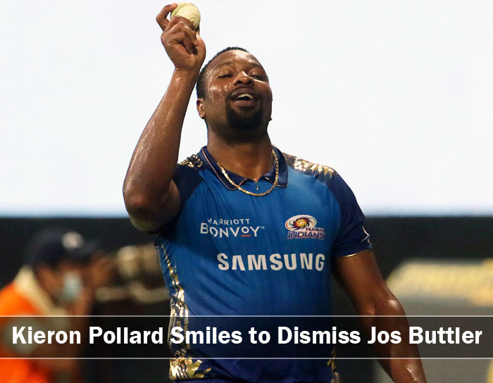 Kieron Pollard smiling after taking a Jos Buttler brilliant Catch
