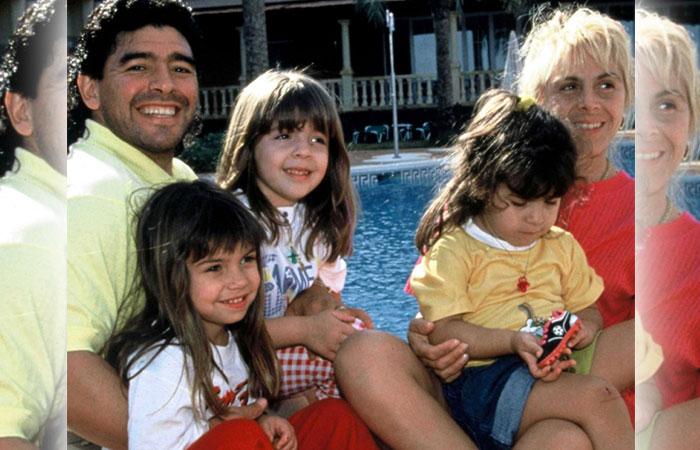 Diego-Maradona-Family-Wife-with-Kids
