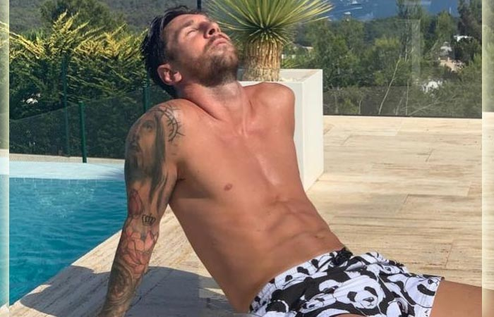 Leonel Messi Relaxing on the Pool