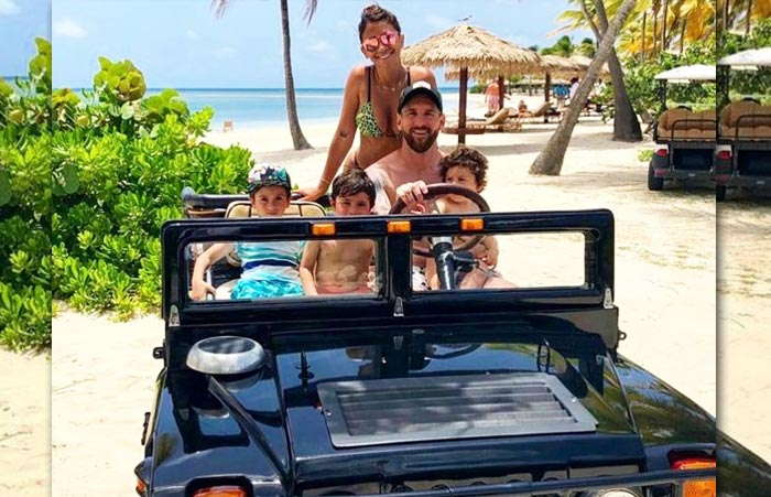 Lionel Messi with his wife Antonela Roccuzzo and kids Thiago, Mateo, Ciro
