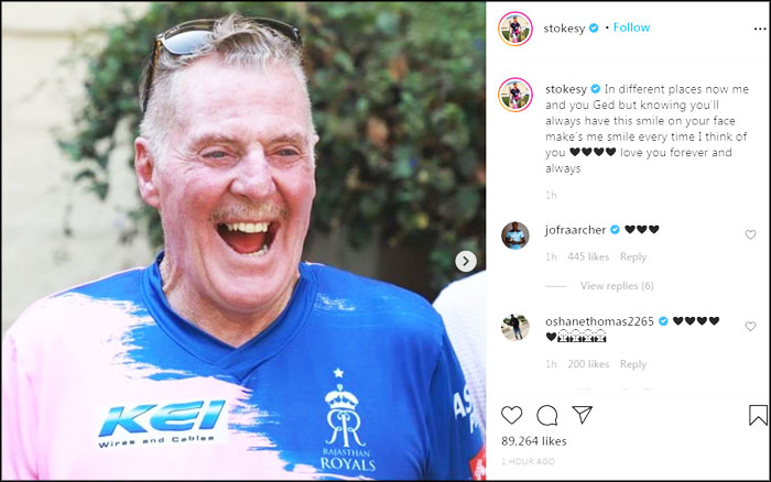 Ben Stokes Posted Father Ged Stokes Pictures on Instagram