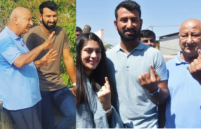 Cheteshwar Pujara With Wife and Father Arvind Pujara
