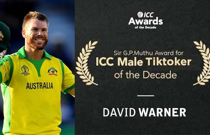 David Warner Awards himself as the Male Tiktoker of the Decade