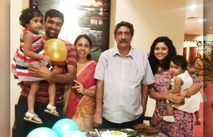 Ravichandran Ashwin With family members
