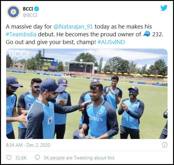 Virat Kohli Given ODI Cap to T. Natarajan in the 3rd ODI Against Australia
