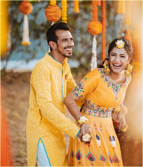Yuzvendra Chahal vs Dhanashree Verma on Yellow Dress in Wedding