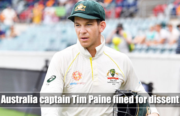 Australian Skipper Tim Paine was Fined and Received One Demerit Point