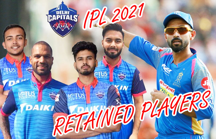 IPL 2021 Delhi Capitals Released and Retained Players