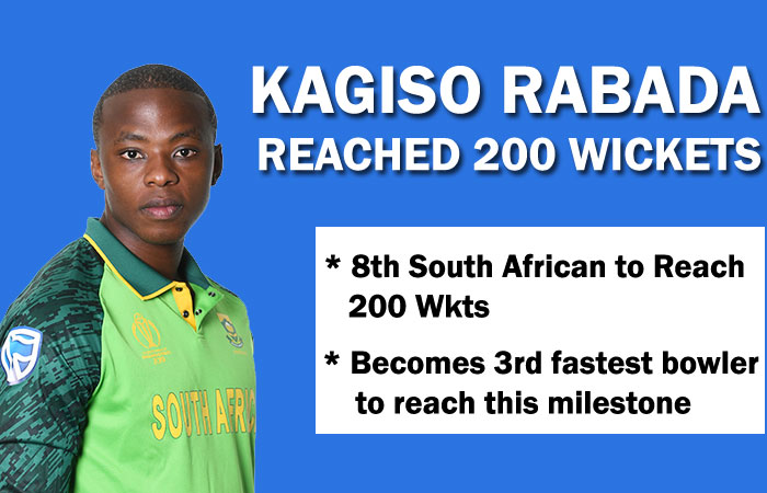 Kagiso Rabada Becomes 3rd Fastest Bowler and 8th South African to hit 200 Test Wickets
