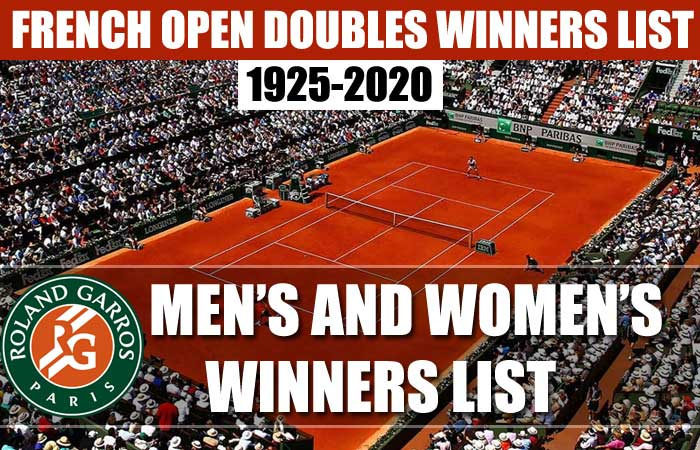 French Open Doubles Champions List Year by Year (1920 - 2020)