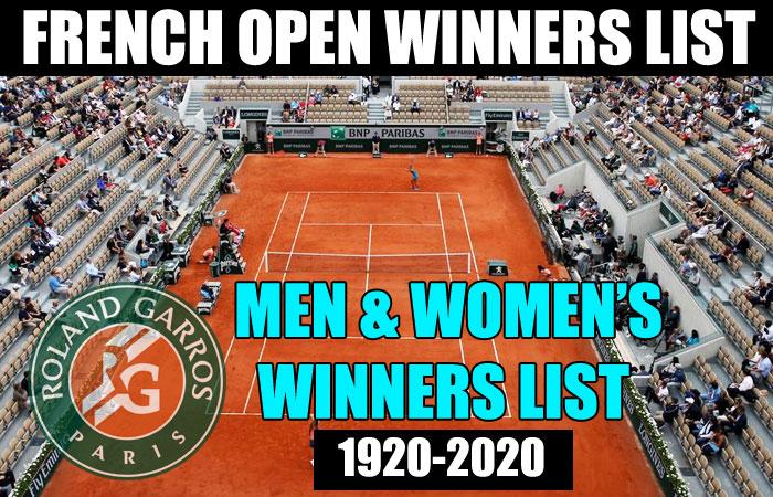 French Open Single's Men and Women's Winners List