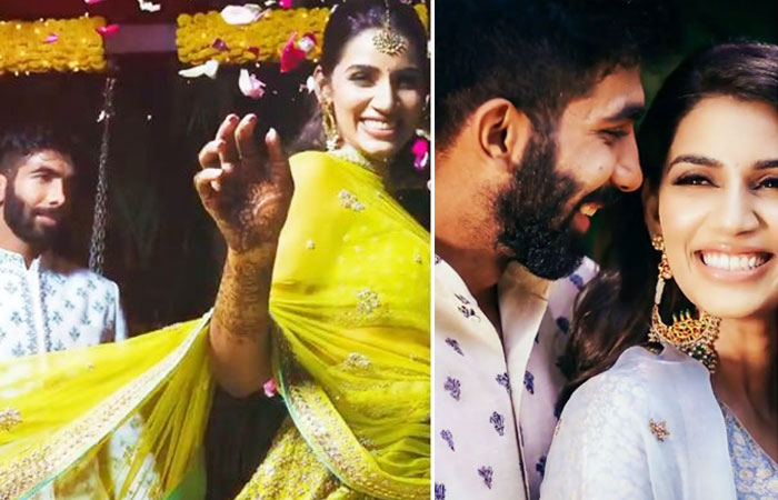 Jasprit Bumrah and Sanjana Ganesan Colorful Wedding Photos